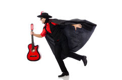 Young man in carnival coat  with guitar isolated Royalty Free Stock Photos