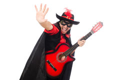 Young man in carnival coat  with guitar isolated Stock Photography