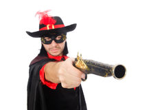 Young man in carnival coat with gun isolated on Stock Images