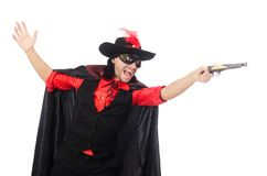 Young man in carnival coat with gun isolated on Royalty Free Stock Photography