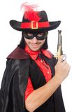 Young man in carnival coat with gun isolated on Royalty Free Stock Images
