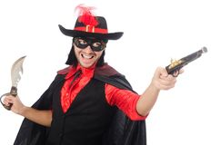 Young man in carnival coat with gun isolated on Royalty Free Stock Photos
