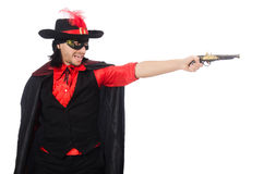 Young man in carnival coat with gun isolated on Royalty Free Stock Image