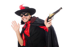Young man in carnival coat with gun isolated on Stock Photo