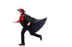 Young man in carnival coat isolated on white Stock Photos