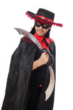 Young man in carnival coat with sword isolated on Royalty Free Stock Photos