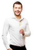 Young man carries glass of champaign Stock Photos