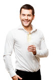 Young man carries glass of champaign Royalty Free Stock Image