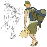 Young Man Carrying Many Bags Royalty Free Stock Images