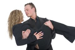 Young Man Carrying A Woman Royalty Free Stock Photos
