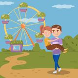 Young man carrying woman on hands, happy couple dating in front of ferris wheel in amusement park vector Illustration. Cartoon style Stock Photo