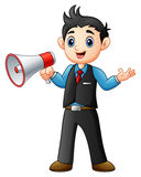Young man cartoon holding a megaphone. Illustration of Young man cartoon holding a megaphone Royalty Free Stock Photo