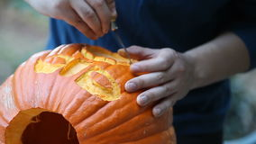 Young man carves Halloween pumpkin stock video