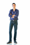 Young Man In Casual Clothes Isolated On White Stock Photos