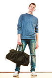 Young man casual style with bag isolated Royalty Free Stock Photos