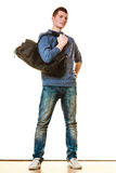Young man casual style with bag isolated Royalty Free Stock Image