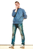 Young man casual style thinking isolated Stock Images