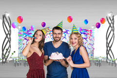 Young man is celebrating birthday Royalty Free Stock Photography