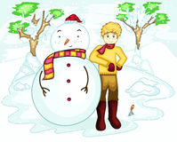 Young Man Celebrating Christmas in Winter with Big Snowman. Cartoon Illustration Stock Photos