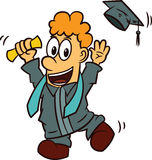 Young Man Celebrating Graduation Day Cartoon. Illustration Stock Photos