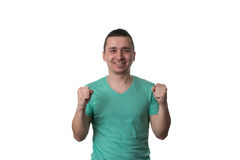 Young Man Celebrating Victory Isolated On White Background Royalty Free Stock Photography