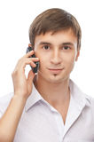 Young man with cell phone Royalty Free Stock Photos