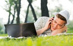 Young man with a cell phone Stock Image