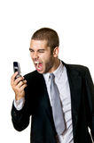 Young Man With Cellphone. Young Business Man With Cellphone Royalty Free Stock Photos