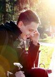 Young Man with Cellphone outdoor Stock Photos