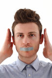 Young man censored Royalty Free Stock Photography