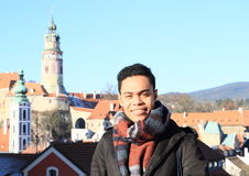 Young man in Cesky Krumlov Stock Photography