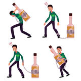 Young man chained to, carrying, holding bottle of liquor, booze Stock Photos