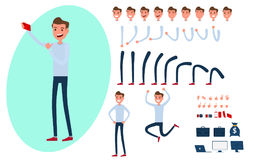 Young man character creation set for animation. Young man character creation set for animation.Young man taking photos with smart phone in various poses. Parts Stock Photography