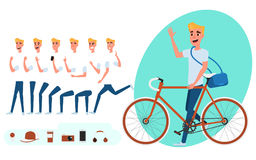 Young man character creation set for animation. Young man with bicycle. Parts body template. Different emotions and poses. Young man character creation set for stock illustration