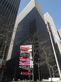 Hoopla: Big 10 Basketball Tournament Comes to New York. February 28. 2018 displays started popping up in mid-town Manhattan such as this one on 6th Avenue and Royalty Free Stock Photo