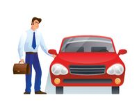 Young man character, planning trip to work, sits in car. vector illustration
