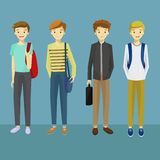 Young Man Characters with Various Poses Carrying a Bag Vector Illustration. Young Man Characters with Various Poses Carrying a Bag.Male Students  Icon Vector Royalty Free Stock Photo