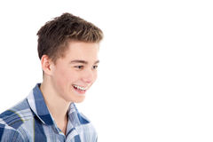 Young man cheerfully laughs Royalty Free Stock Photography
