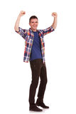 Young man cheering Stock Image
