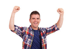 Young man cheering Royalty Free Stock Photography
