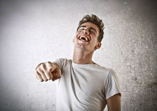Young man cheering Stock Photo