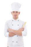 Young man chef  holding kitchen equipment isolated on white Royalty Free Stock Photos
