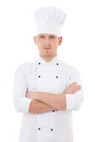 Young man in chef uniform isolated on white Stock Photography