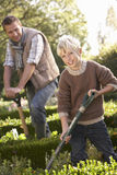 Young man with child working in garden Stock Photo