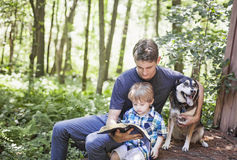 Young man and child reading. A young men and child read bible in nature with dog. Family faith royalty free stock photo