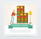Young man choosing books on shelves in library, education, school, study and literature concept, national library flat. Vector illustration element for website Royalty Free Stock Image