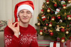 Young man in christmas decoration. Home interior with gifts and fir tree. New year holiday concept. Stock Photo