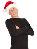 Young man in Christmas hat Royalty Free Stock Photography