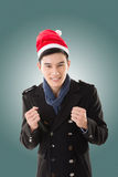 Young man with christmas hat Royalty Free Stock Image