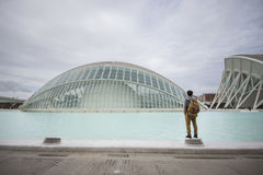 Young Man and City of Arts and Sciences Stock Image